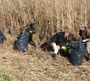 Volontari raccolgono rifiuti lungo il Dese