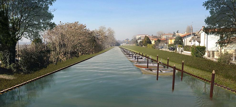 CANALE OSELLINO LOTTO 1. Riqualificazione del basso corso del Fiume Marzenego-Osellino per la riduzione ed il controllo dei nutrienti sversati in Laguna di Venezia. Rendering dal ponte di via del Ghebo (Campalto), verso Mestre